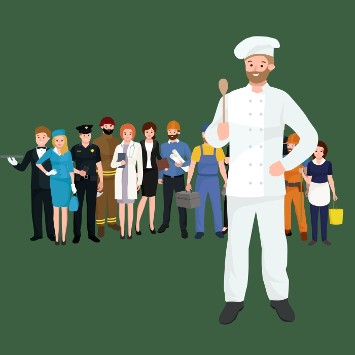 Vector cooking chefs vector illustration. Professions job man in uniform,
